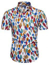 Colorful Leaf Print Button Up Hawaii Shirt -