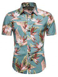Flower Print Short Sleeve Hawaii Shirt -