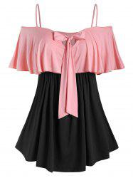 Plus Size Two Tone Bowknot Ruffled T Shirt -