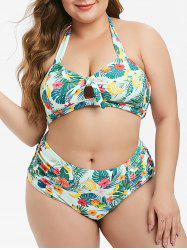 Plus Size Floral Leaf Banana Halter Ruched Bikini Swimsuit -