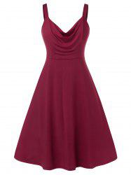 Plus Size Sleeveless Ruched Solid Color Dress -