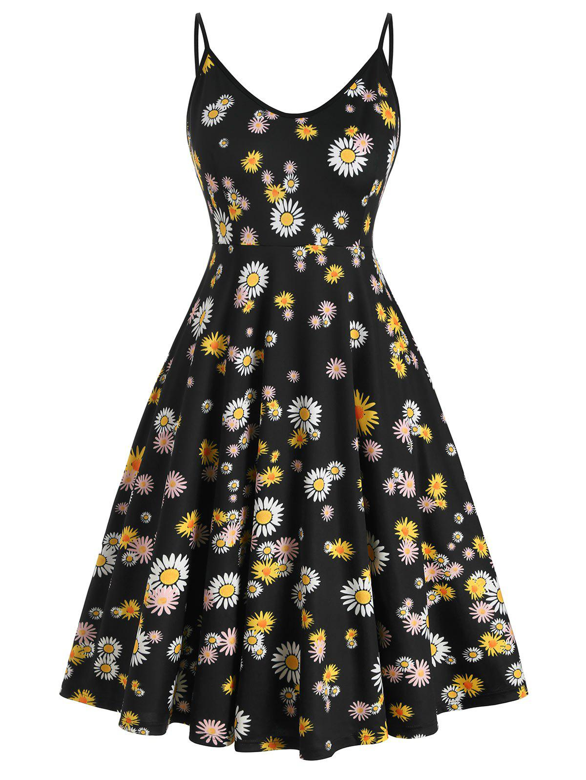 Plus Size Daisy Print Midi Cami Dress Rosegal