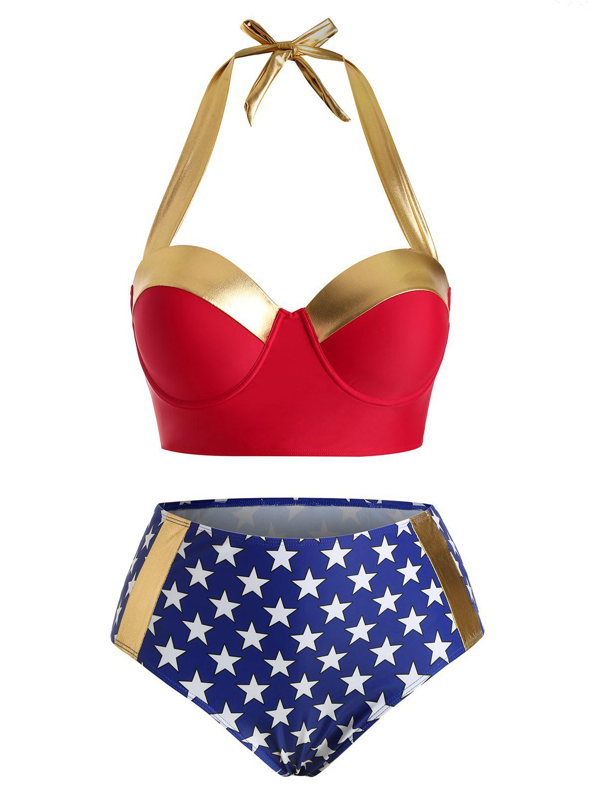 Outfit Plus Size American Flag Underwire Bikini Swimsuit