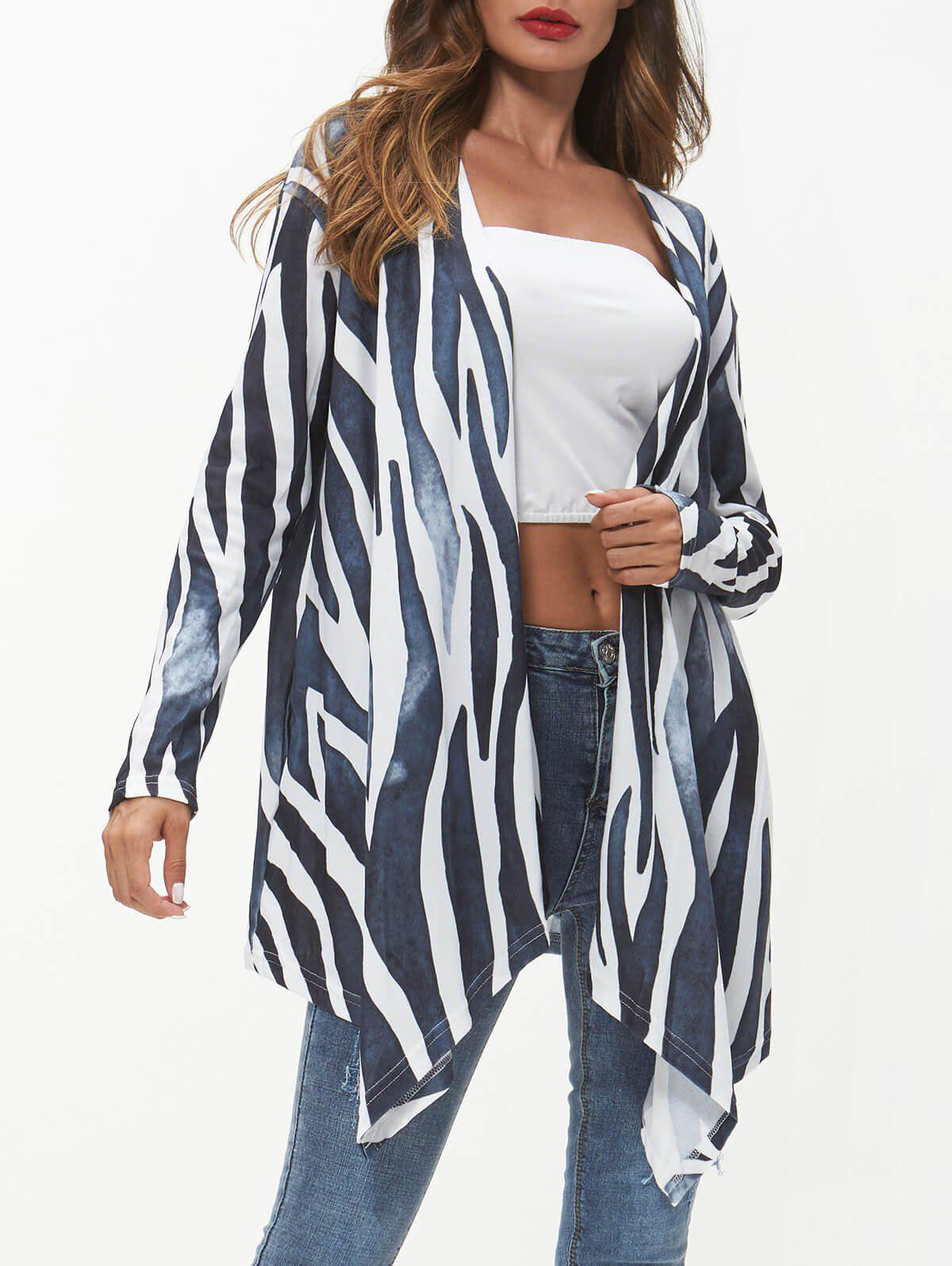 Hot Lines Print Open Front Asymmetric Coat