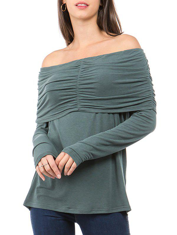 Chic Off The Shoulder Ruched Fold Over T-shirt