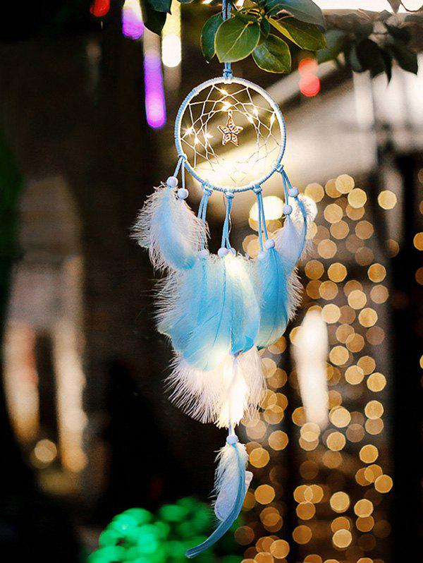 Trendy Home Decoration Star Shape LED Lights Feather Dream Catcher