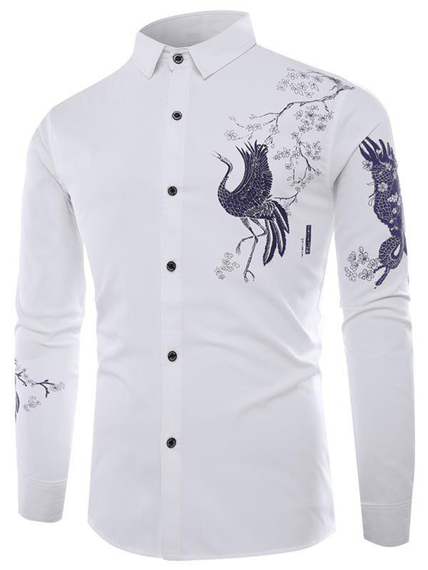 New Chinese Animal Graphic Button Up Long Sleeve Shirt