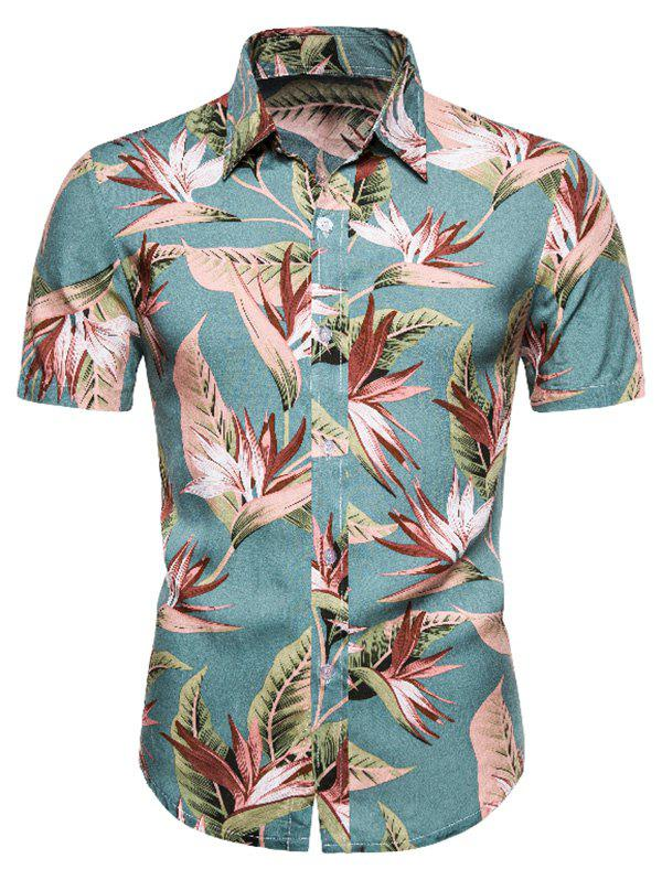 Cheap Flower Print Short Sleeve Hawaii Shirt