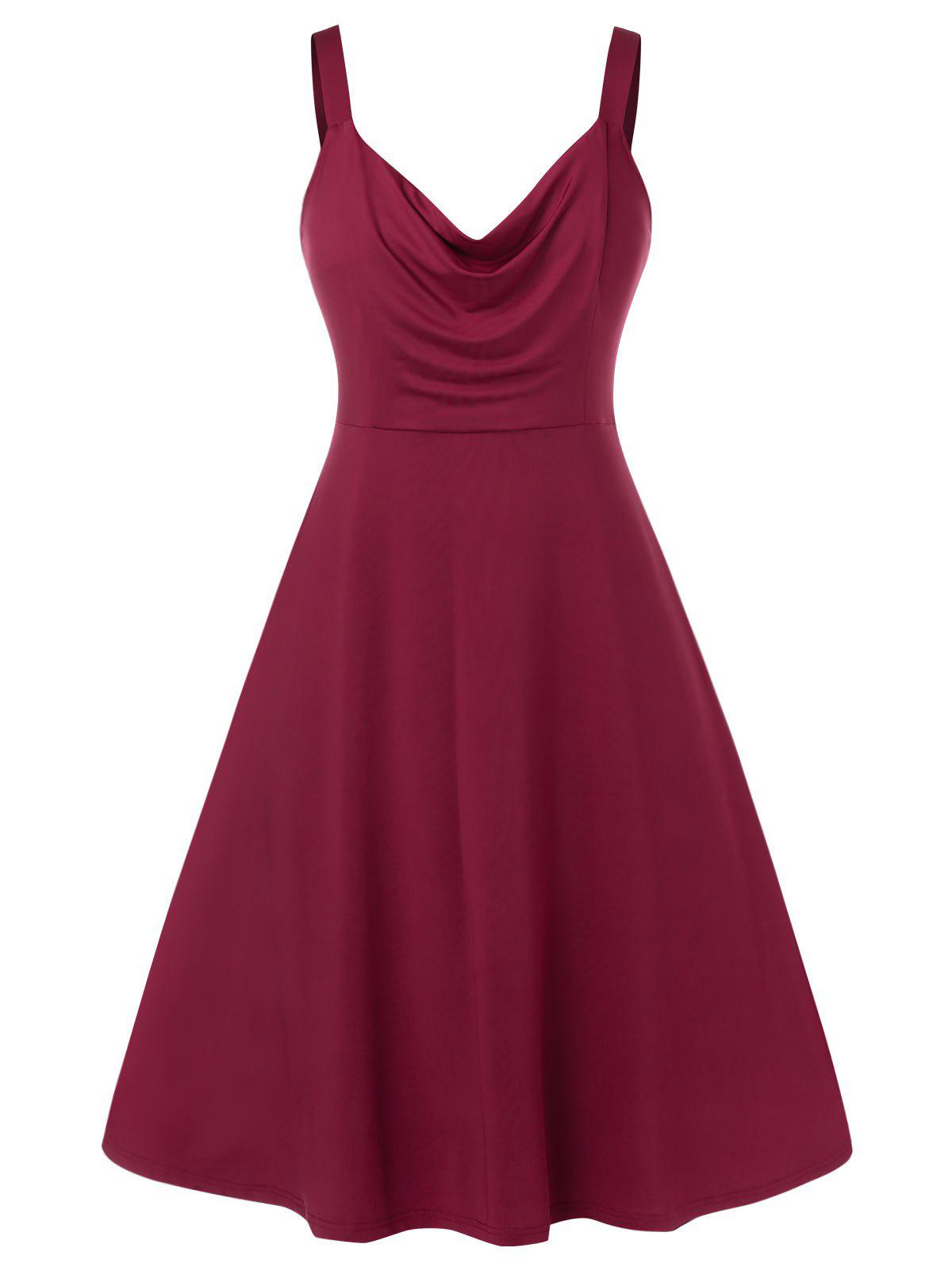 Hot Plus Size Sleeveless Ruched Solid Color Dress