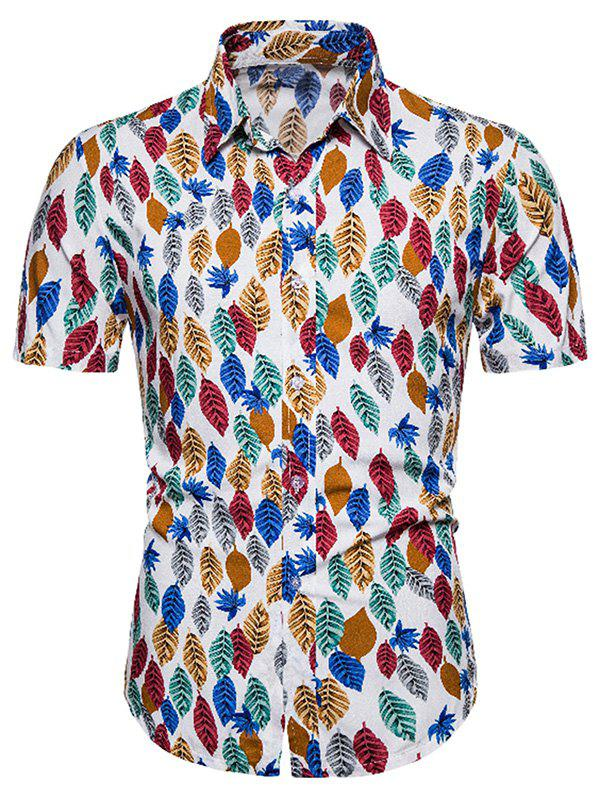 Colorful Leaf Print Button Up Hawaii Shirt, Multi