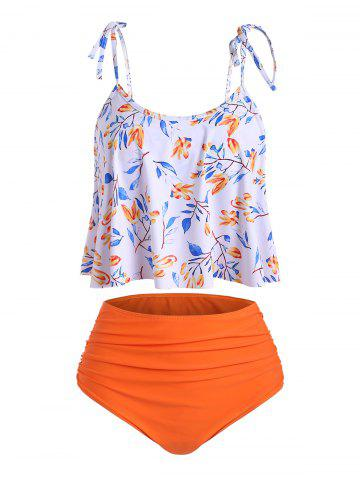 Ruched High Waisted Leaves Print Tankini Swimsuit