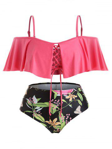 Plus Size Lace-up Flounce Plant Print Off Shoulder Bikini Swimsuit - WATERMELON PINK - 5X