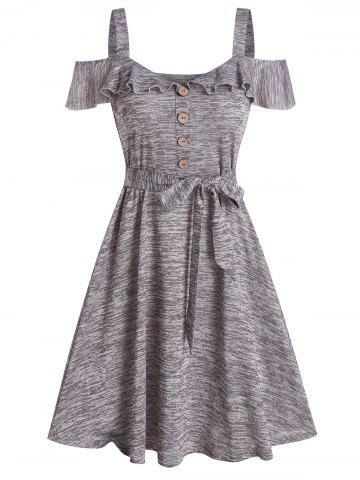 Ruffled Cold Shoulder Marled Dress
