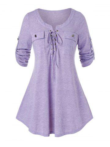 Plus Size Heather Lace Up Roll Up Sleeve T-shirt - PURPLE MIMOSA - L