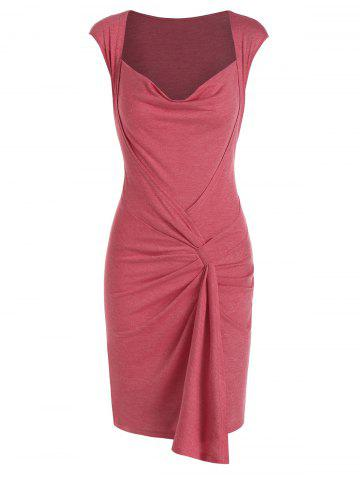 Cowl Neck Ruffled Sheath Dress - LIGHT CORAL - 3XL