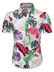 Hawaii Tropical Leaf Print Button Up Shirt -