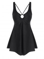 O Ring Strappy Solid Plus Size Tankini Swimsuit -