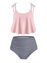 Striped Floral Print Ruched Tankini Set -