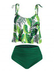 Ruched High Waisted Leaves Print Tankini Swimsuit -