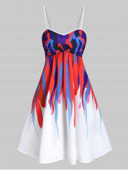 Colorful Abstract Print Twist Front Spaghetti Strap Dress -