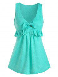 Plunging Neckline Ruffled Tank Top -