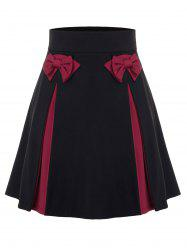 Plus Size Bowknot Colorblock Mini Skirt -