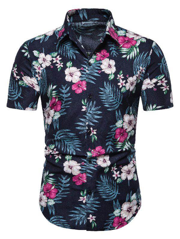 Outfit Tropical Floral Print Short Sleeve Casual Shirt