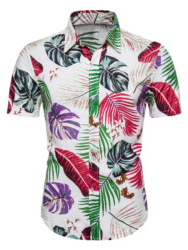 Outfit Hawaii Tropical Leaf Print Button Up Shirt