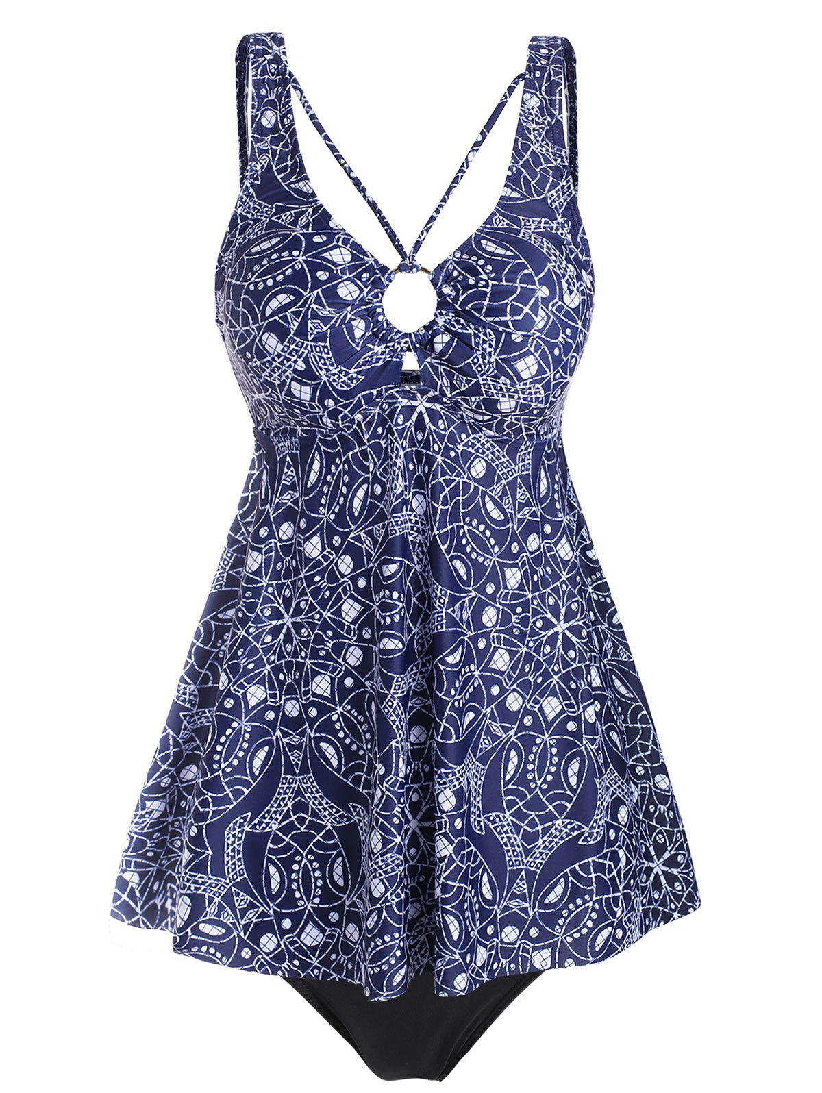Chic Snakeskin Printed Strappy O Ring Tankini Swimsuit