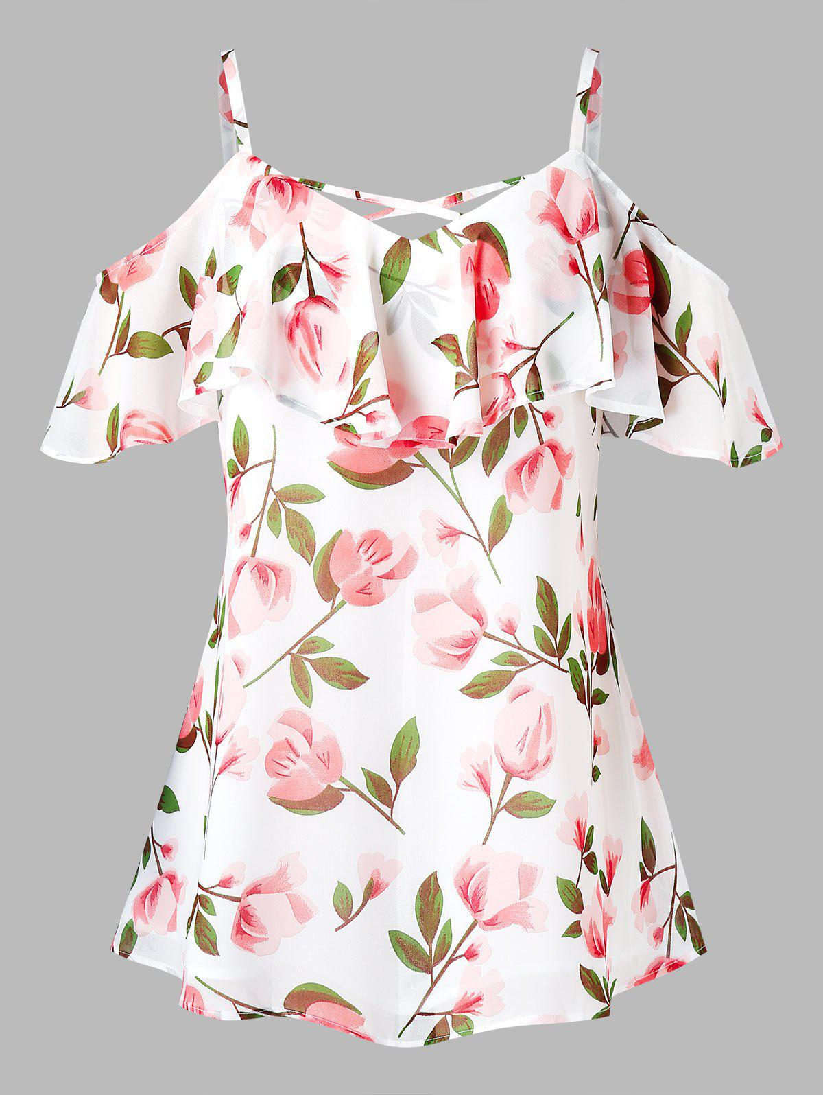 Latest Plus Size Cold Shoulder Ruffled Floral Print Blouse