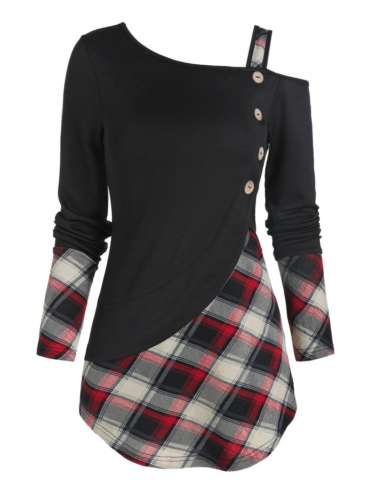 rosegal Skew Neck Plaid Curved T Shirt