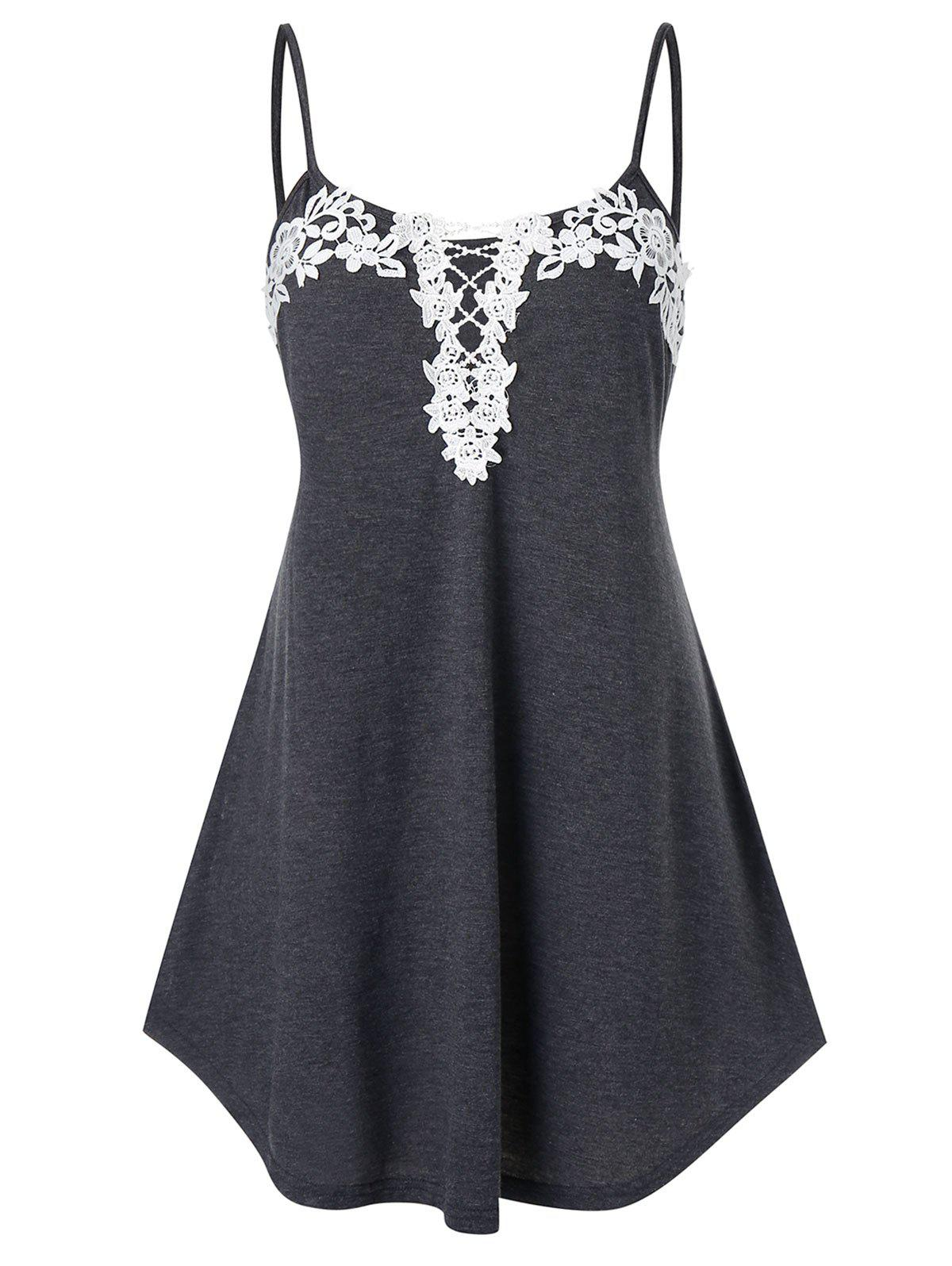 Plus Size Flower Lace Splicing Cami Tank Top фото