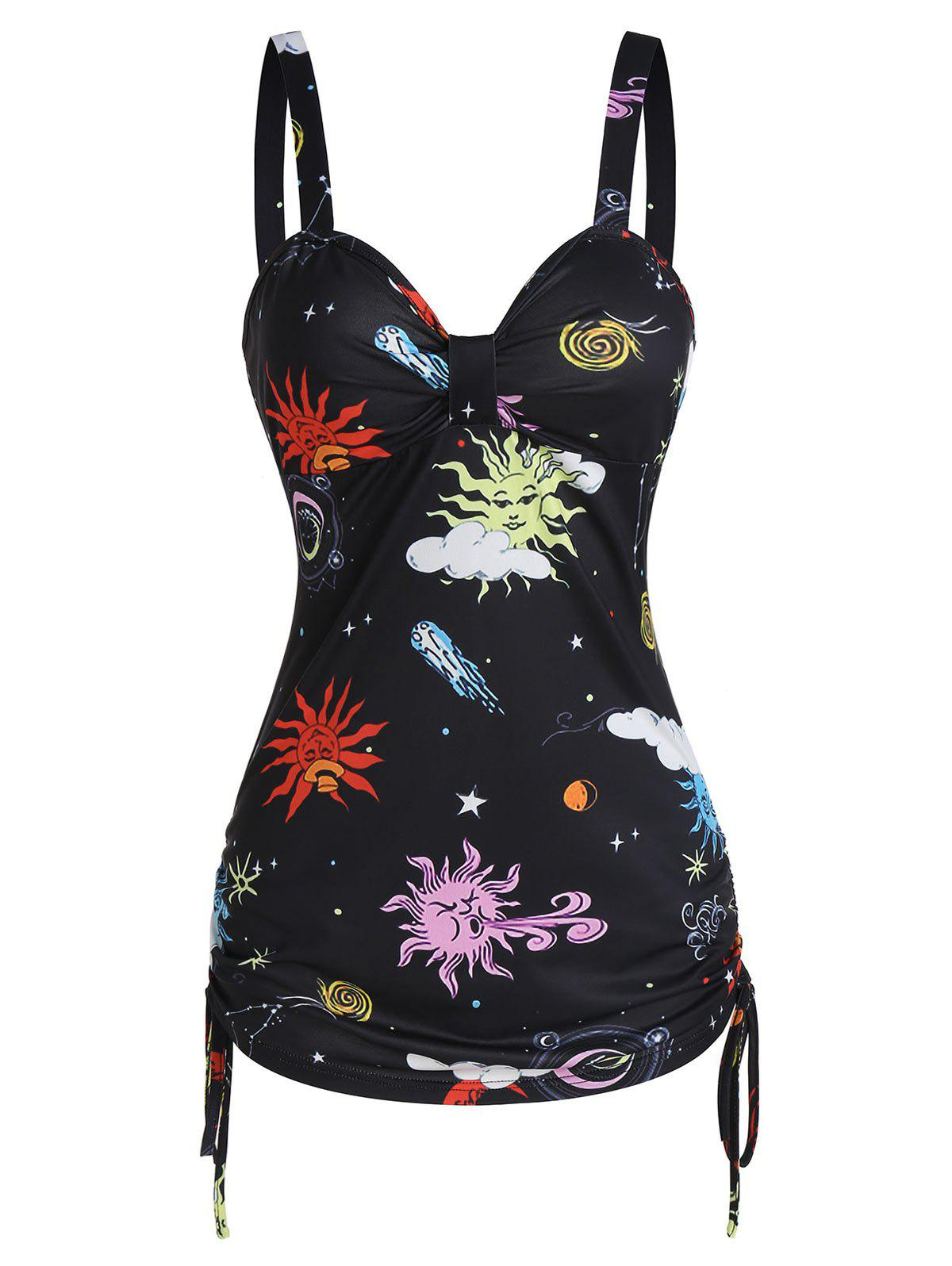 Discount Sun Moon Star Print Ruched Cinched Tank Top