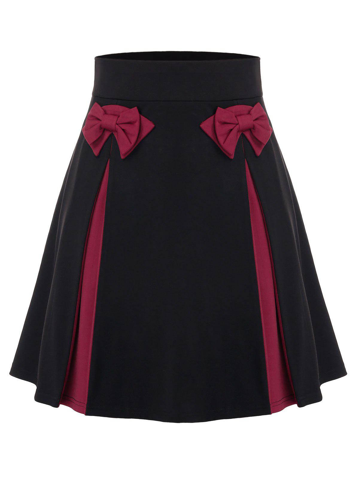 Fashion Plus Size Bowknot Colorblock Mini Skirt