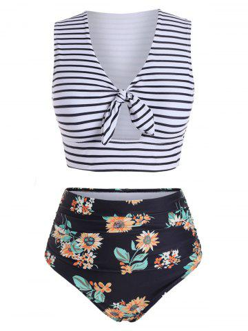 Striped Floral V Neck Two Piece Swimsuit - BLACK - S