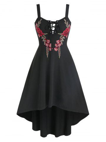 Flower Embroidered Lace-up High Low Dress - BLACK - 3XL
