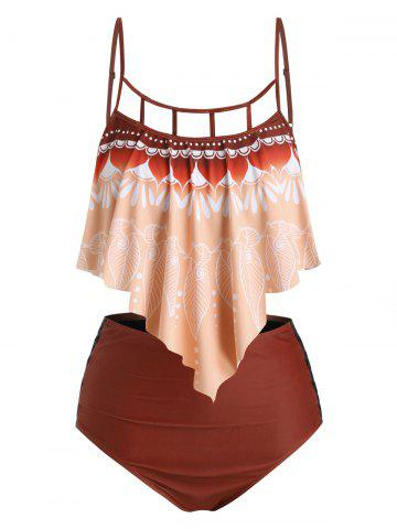 Plus Size Printed Lattice Cut Ruffle Tankini Swimwear - DEEP PEACH - 5X