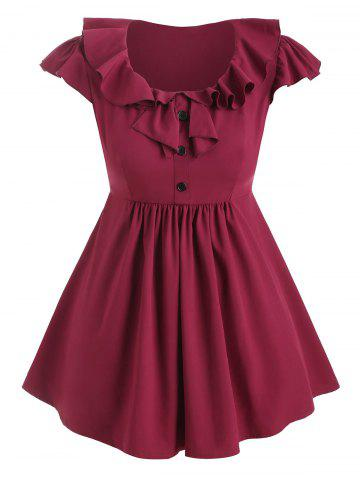 Plus Size Mock Button Ruffle Peplum Blouse - RED WINE - 2X
