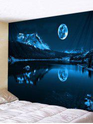 Moon Night Mountain Lake Print Tapestry Wall Hanging Art Decoration -