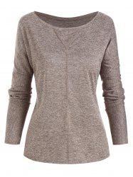 Topstitching Heathered Long Sleeve Top -