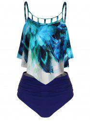 Peacock Feather Ruched Overlay Tankini Set -