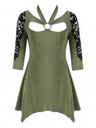 O Ring Lace Panel Handkerchief Plus Size Top -