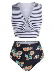 Striped Floral V Neck Two Piece Swimsuit -