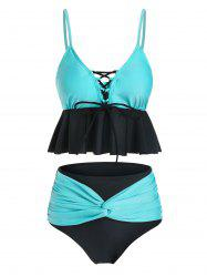 Lace Up Twist Two Tone Tankini Swimsuit -