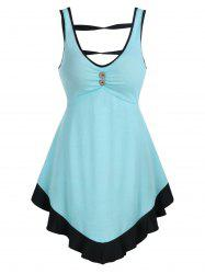 Mock Button Contrast Pointed Hem Tank Top -