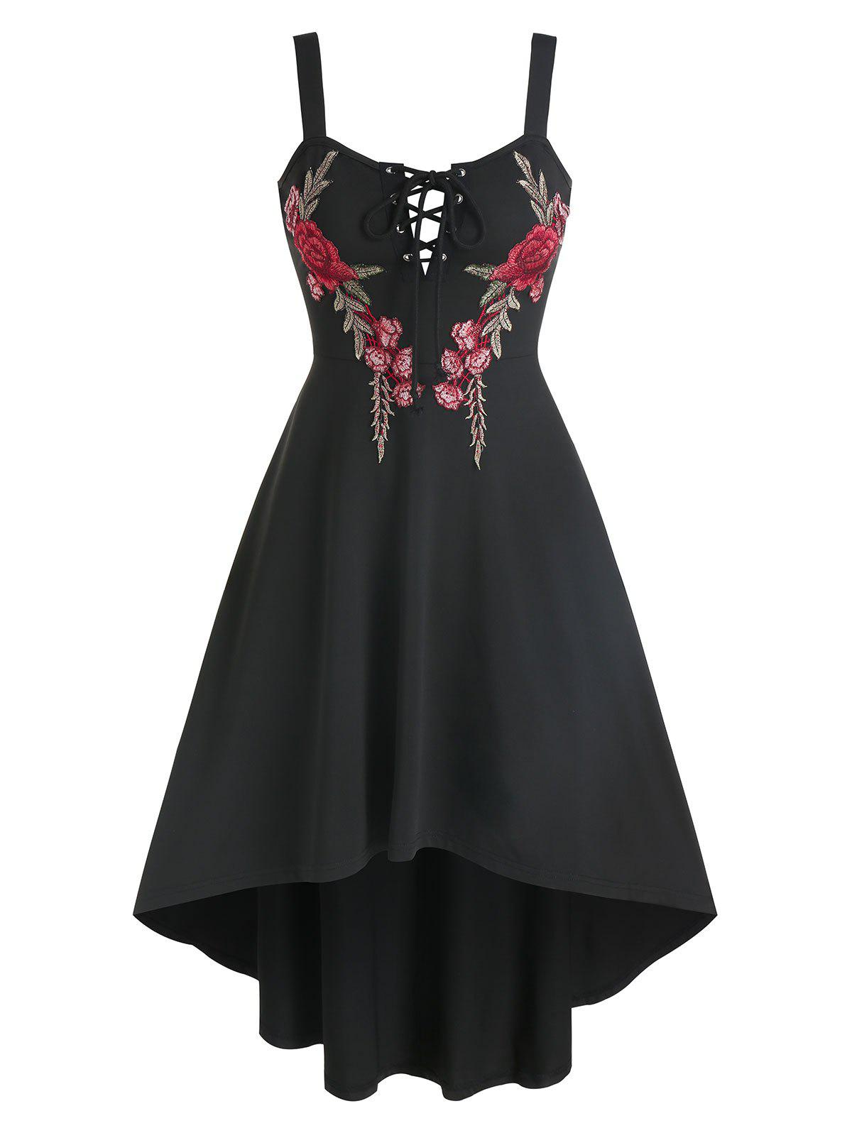 Affordable Flower Embroidered Lace-up High Low Dress