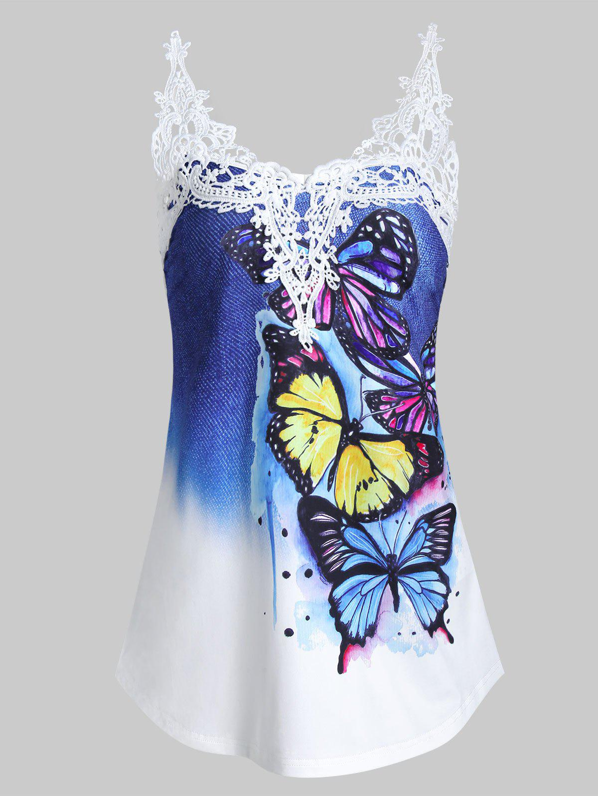 Unique Butterfly Print Contrast Lace Panel Tank Top