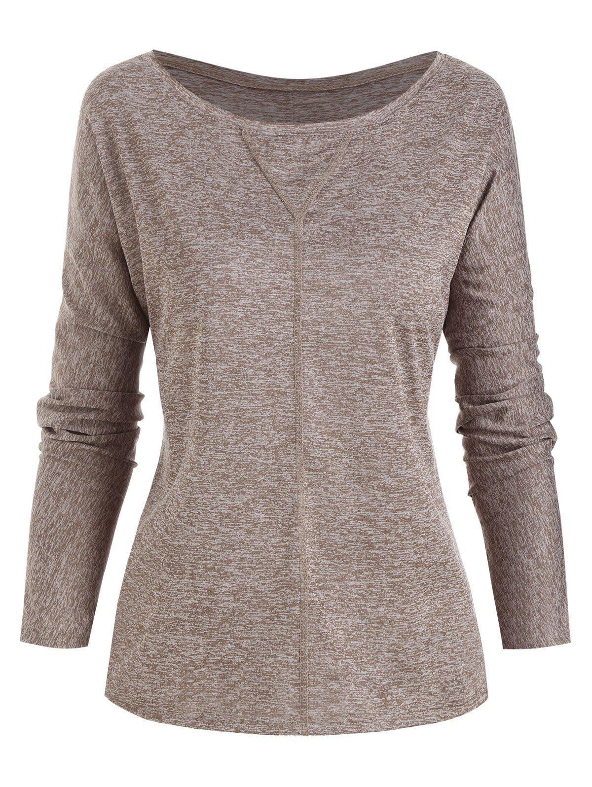 Shop Topstitching Heathered Long Sleeve Top
