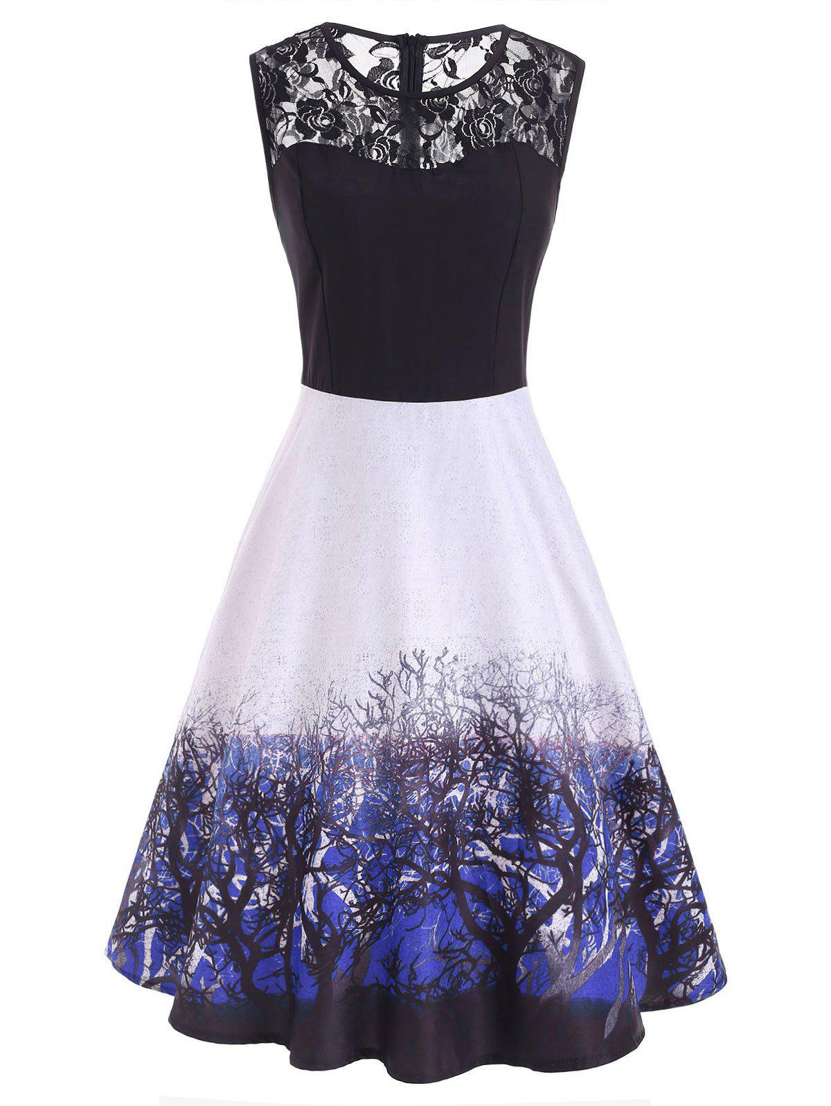 Outfit Lace Panel Branch Print Sleeveless Midi Dress