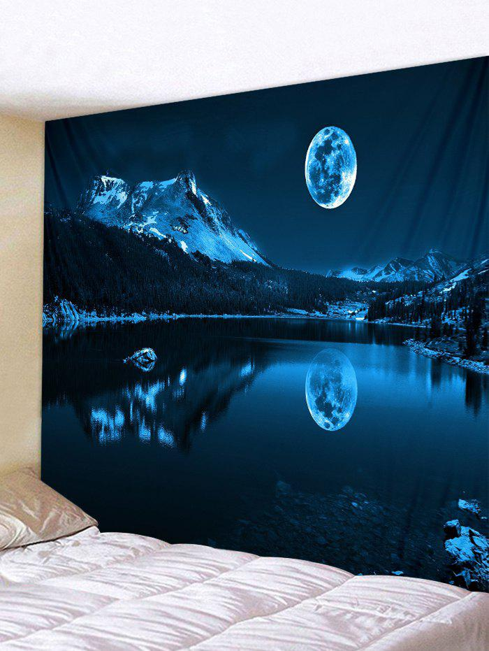 Latest Moon Night Mountain Lake Print Tapestry Wall Hanging Art Decoration